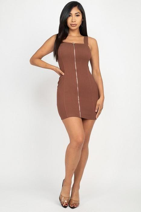 Front Zip Mini Dress