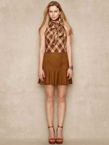 The distressed Nubuck Leather Skirt features a playful fitandflare silhouette. #Fashion  #RalphLauren