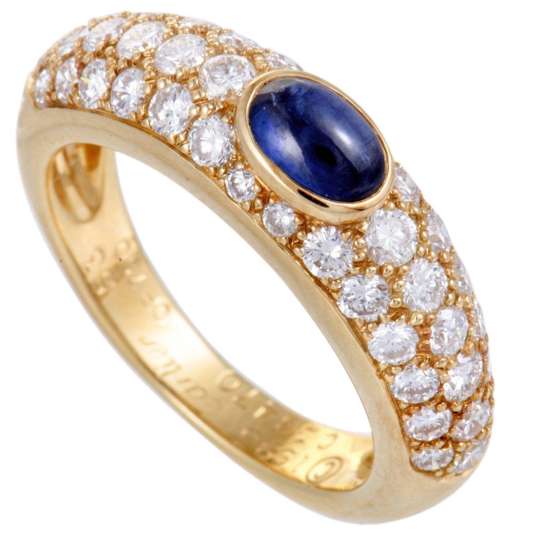 81d4715bcb039 Cartier 18 Karat Yellow Gold Diamond Pave Sapphire Cabochon Band ...