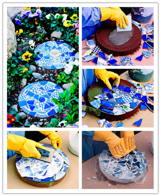 Mosaic is a great way to add color to your landscaping  Here is a step by step tutorial for you to make some lovely garden stepping stones  Stepping Stones is part of Garden stepping stones diy -