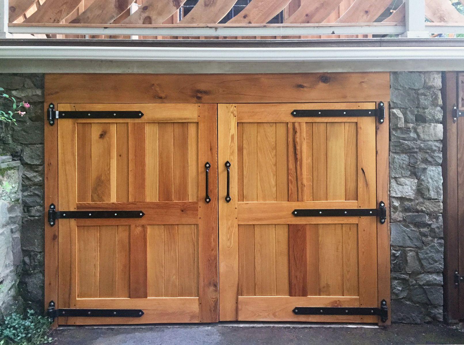 Rustic Barn Door Hardware On Swinging Wood Garage Or Cellar Doors