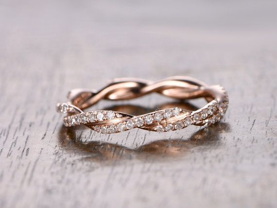 Diamond Wedding Band Full Eternity Anniversary Ring 14k Rose Gold Twist Unique