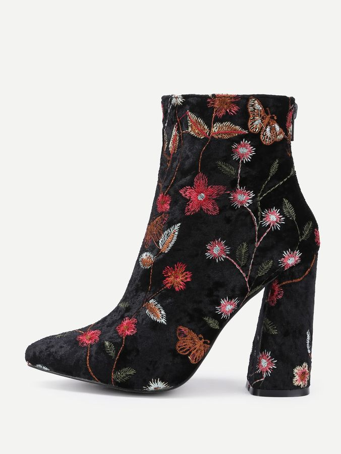 c5ee10662 Shein Flower Pattern Block Heeled Ankle Boots