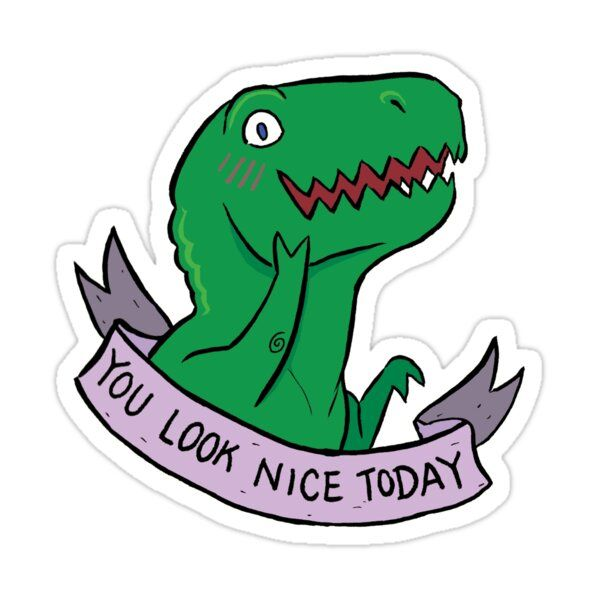 Friendly T-rexes - You Look Nice Today Sticker by ackimakescomics
