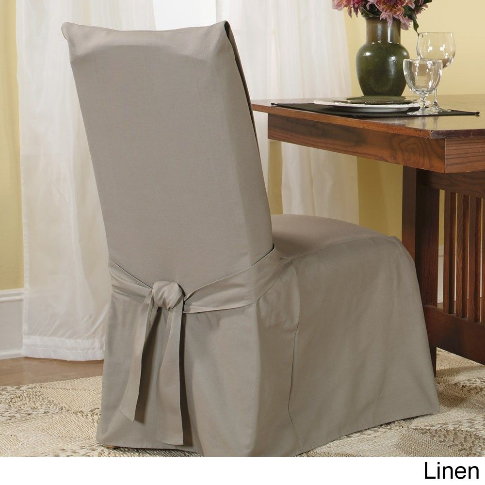 Sure Fit Cotton Classic Dining Chair Slipcover Linen Beige Off White