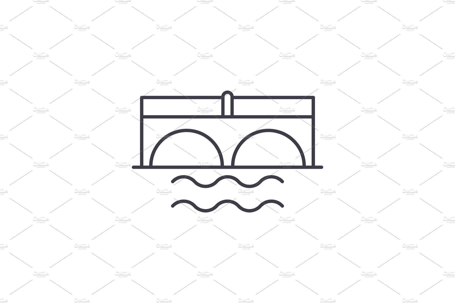 Bridge Over River Line Icon Concept Line Icon Graphic Illustration Creative Project