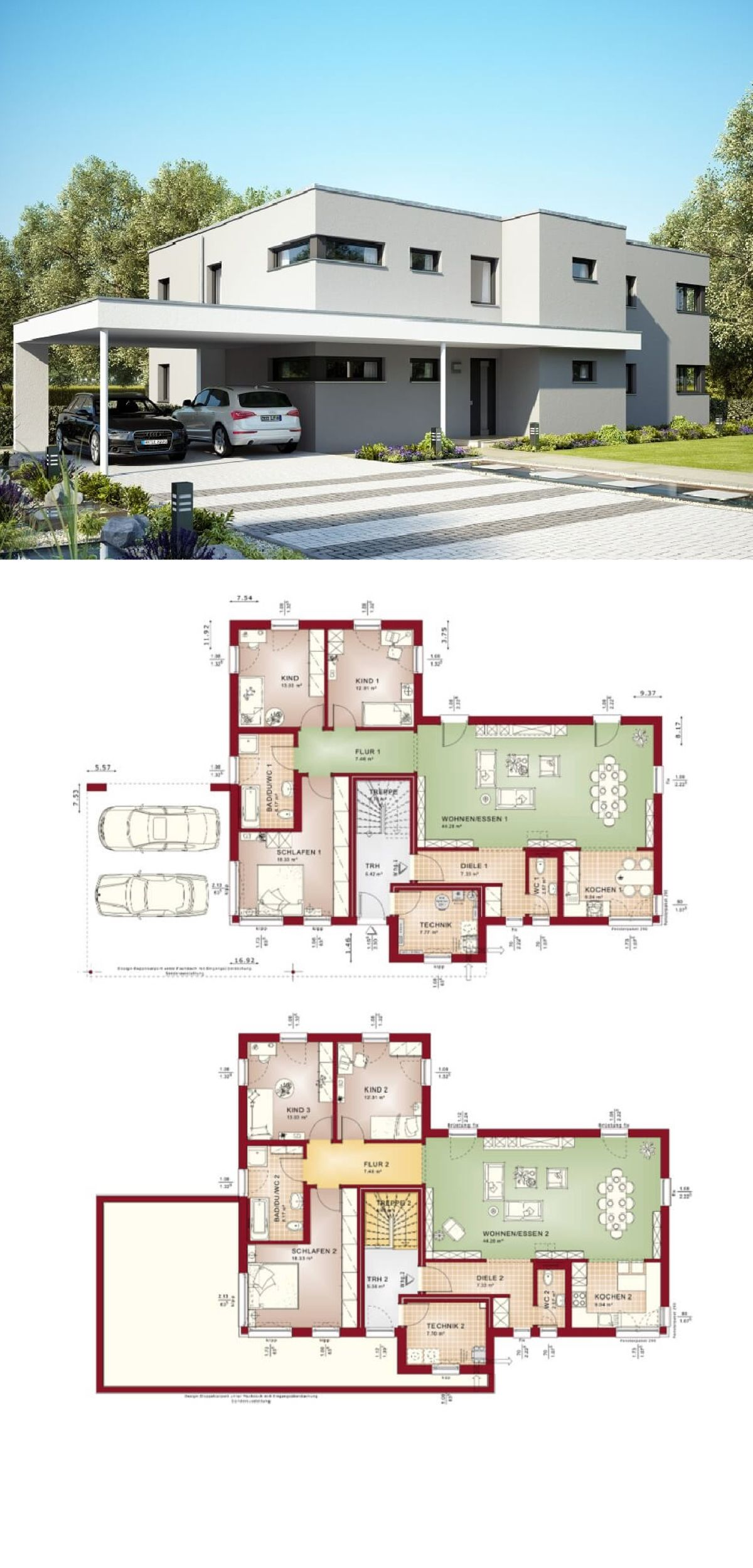 Zweifamilienhaus im bauhaus stil mit flachdach und carport for Zweifamilienhaus plan