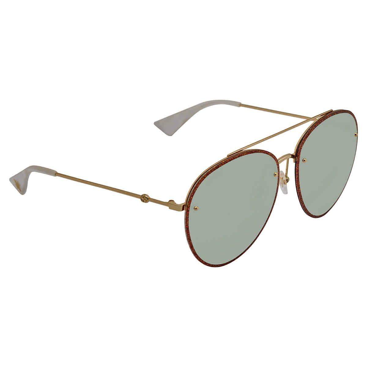 Gucci Green Aviator Sunglasses GG0351S 005 62