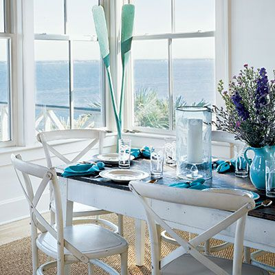 Dining Rooms With A Coastal Touch Turquoise White Beach Houses - Beach themed dining room ideas