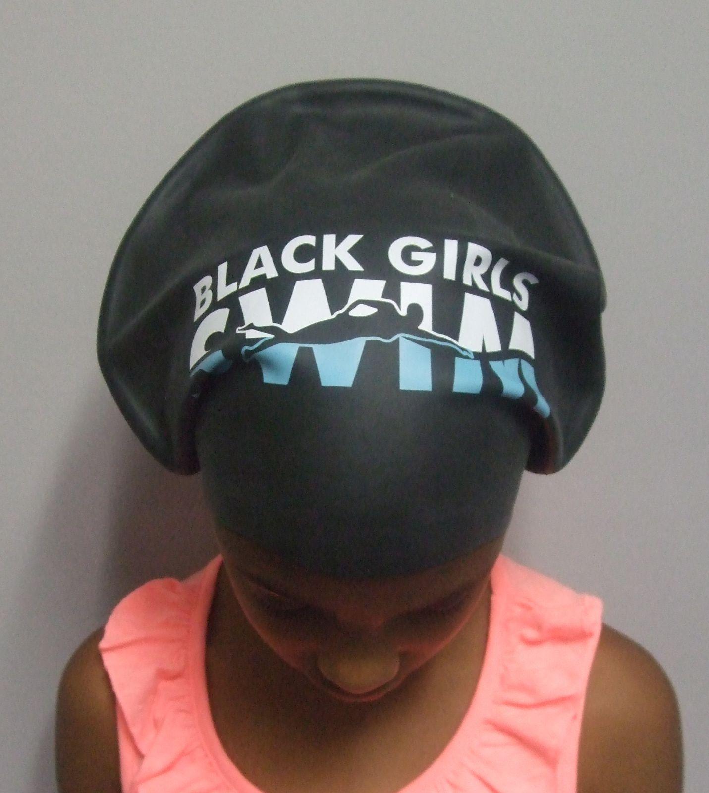 Xl Black Girls Swim Cap For Long Hair, Locks And