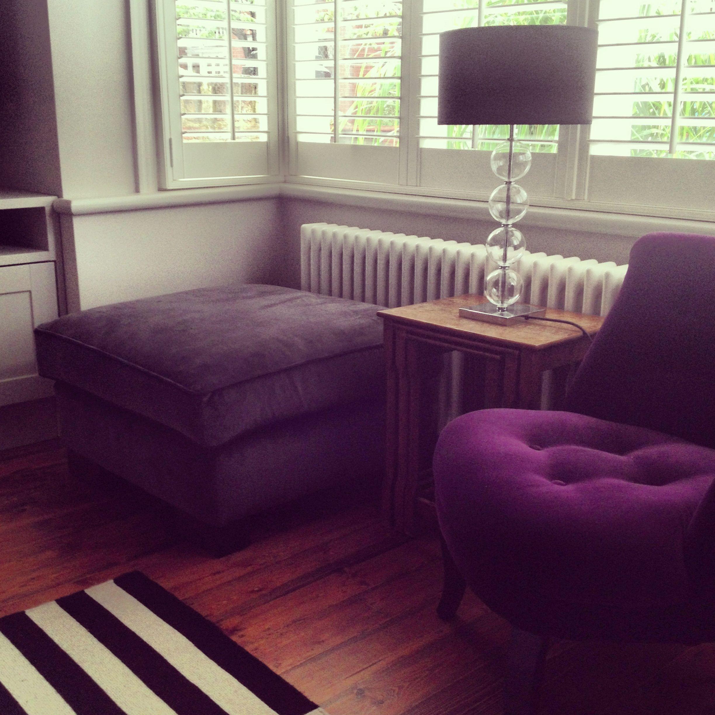Velvet dreaminess. Footstool by Tamarisk, chair by Velvet