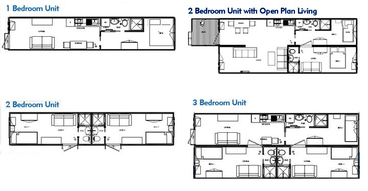 Selection of one two and three bedroom shipping for Shipping container home floor plans