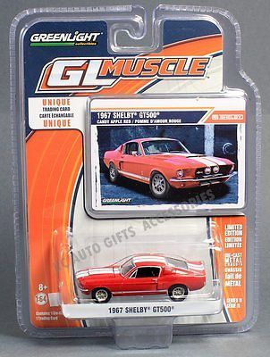 1967 Shelby Gt500 Red With White 1 64 Scale Greenlight Glmuscle 11 13110 Shelby Shelby Gt500 1967 Shelby Gt500 Ford Mustang Gt