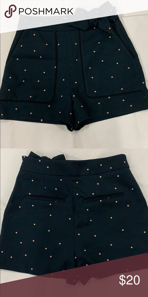 6eea5e53 Zara Basic Polka Dot High Waisted Shorts Zara basic polka dot high waisted  shorts in teal