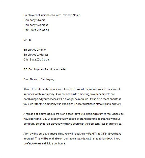 termination notice template free word excel pdf format sample - employee termination letter format