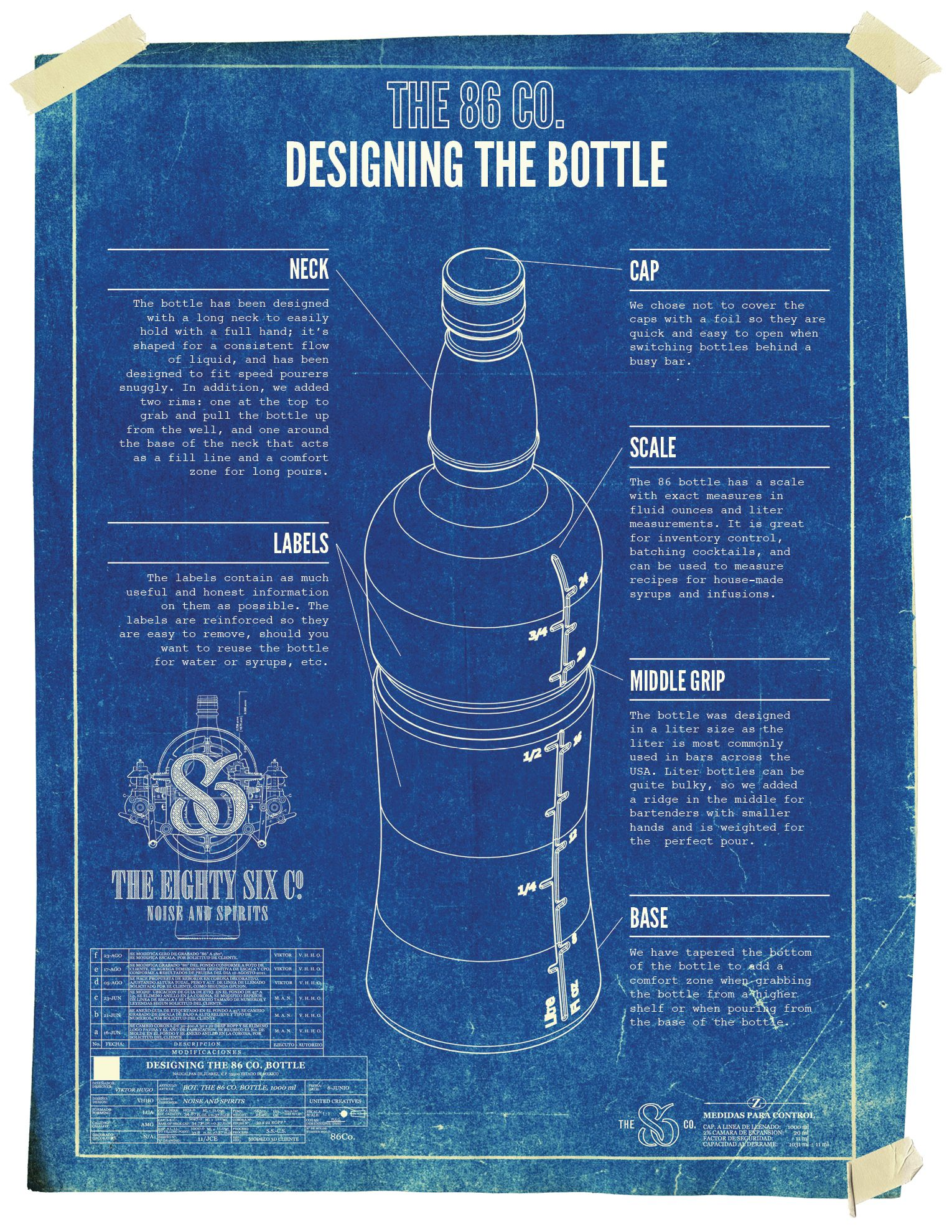 Bottle blueprint design for the 86 co new york by united creatives