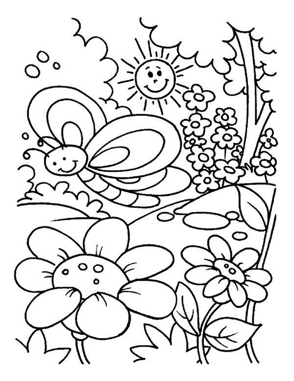 Spring At Beautiful Garden Coloring Page Kids Play Color Garden Coloring Pages Bug Coloring Pages Spring Coloring Pages