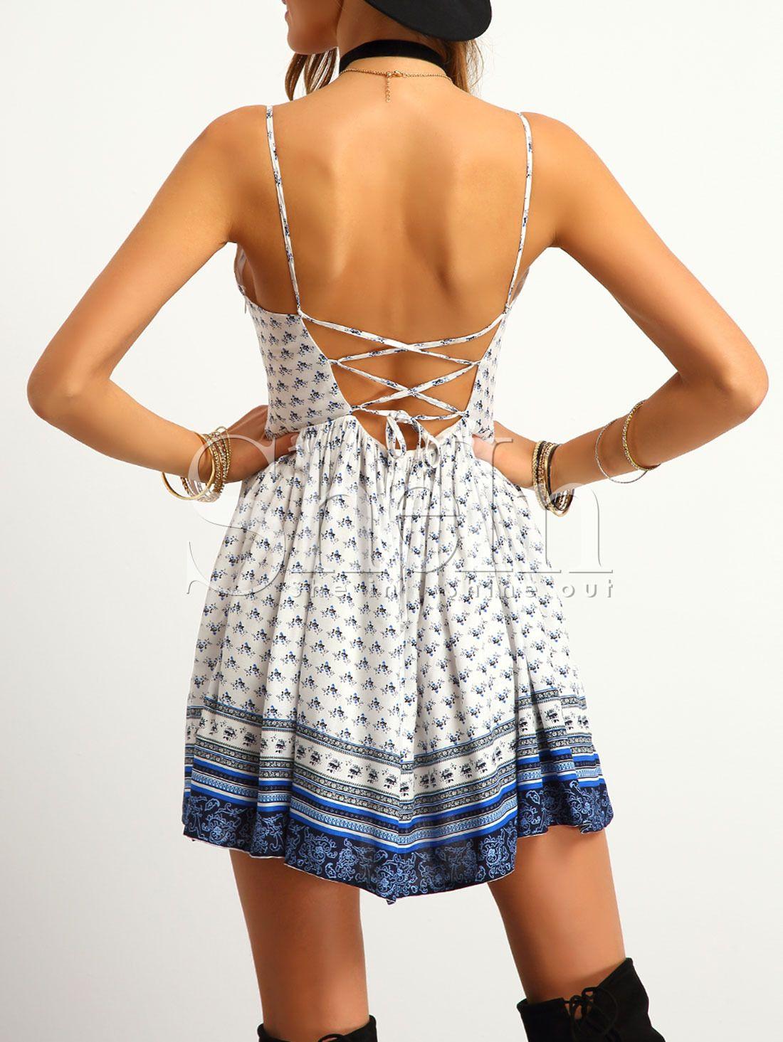Vestido Tirante Espalda Cruzada Con Vuelo Sheinside
