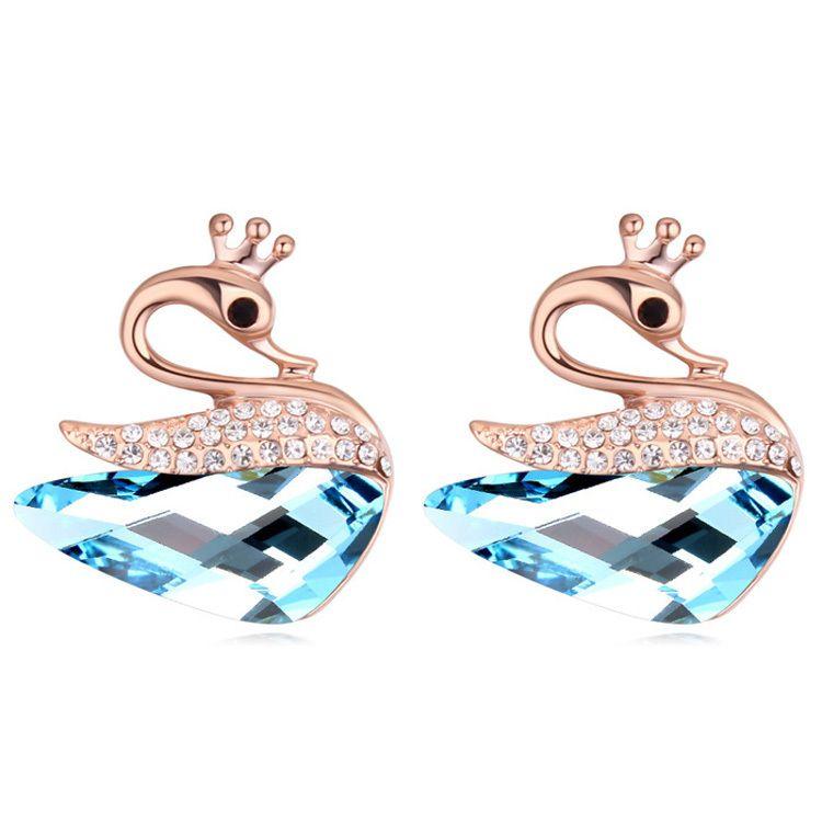 Swan Earrings Austrian Crystal Ear Piercing Studs Cute For Kids Women S Jewelry 5 Color
