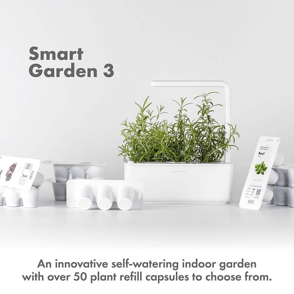 Click Grow Smart Garden 3 Indoor Gardening Kit Includes Basil Capsules Smart Garden Indoor Gardening Kit Indoor Herb Garden