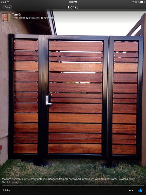 Metal frame wooden slats outdoor bars pinterest for Porte jardin metal