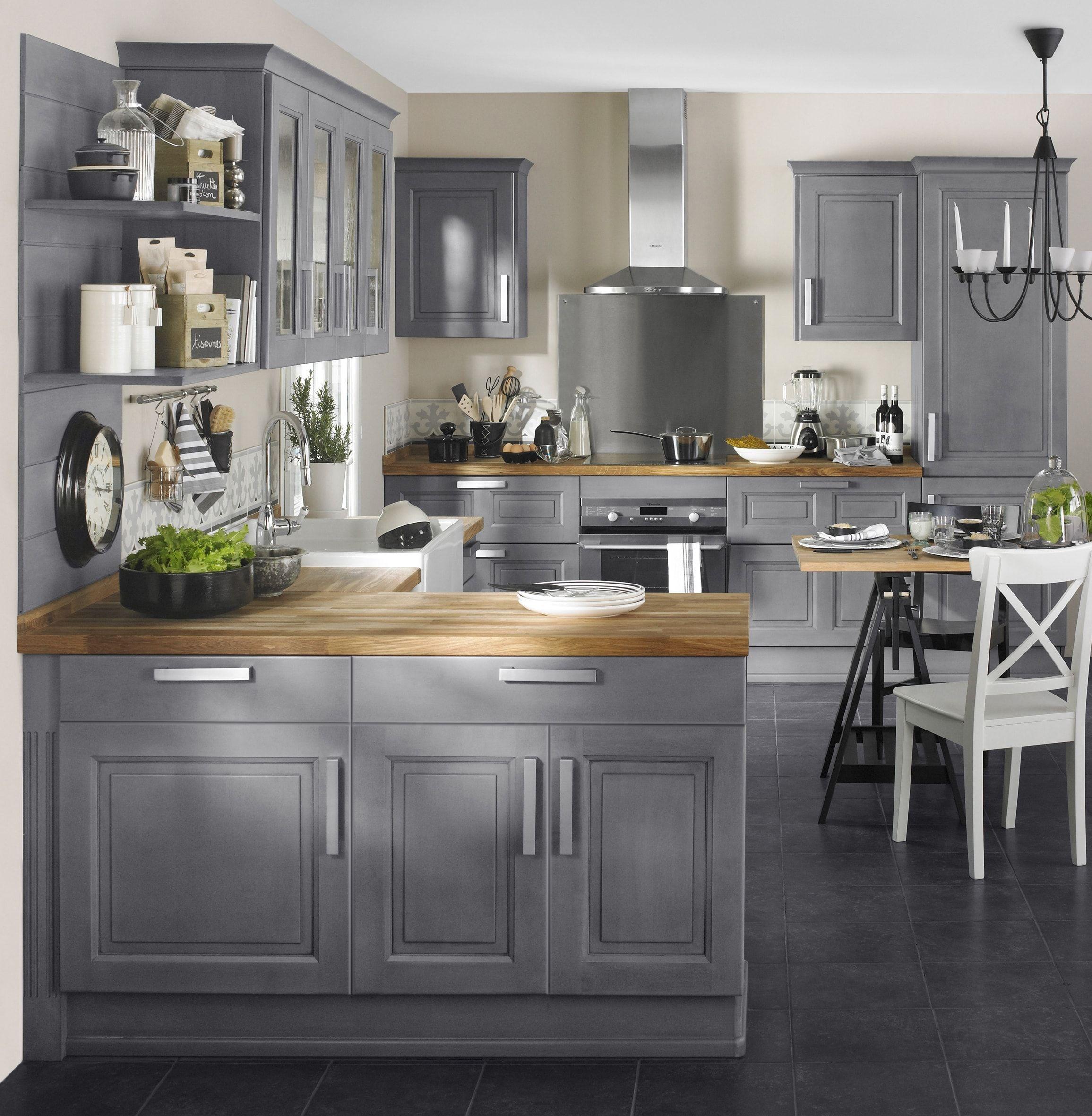 Cuisine Bistro Par Lapeyre Cuisine Rustique Et Si On La - Lapeyre meuble haut cuisine pour idees de deco de cuisine