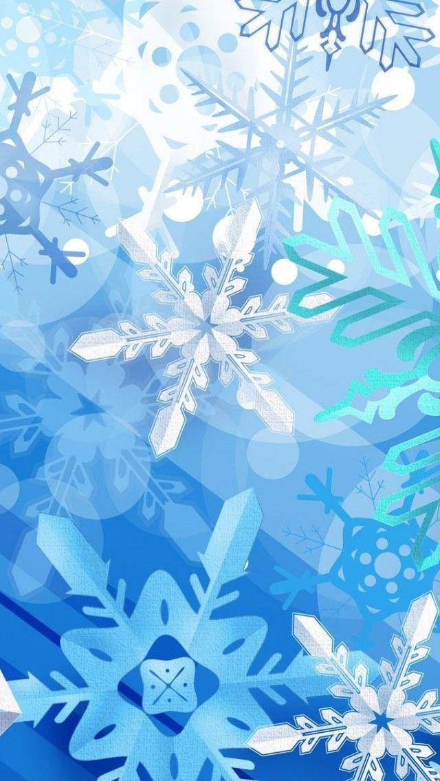 Blue Aqua White Snowflakes iPhone Wallpaper Wallpaper