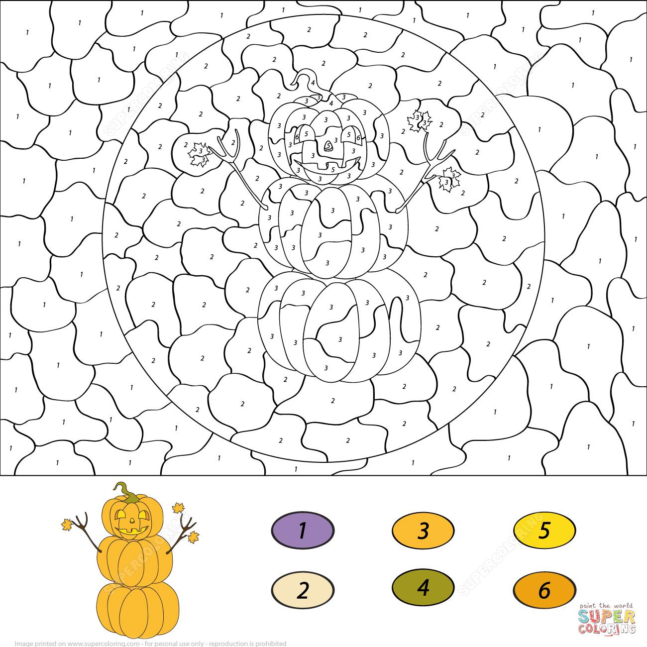 Pumpkin Snowman Color By Number