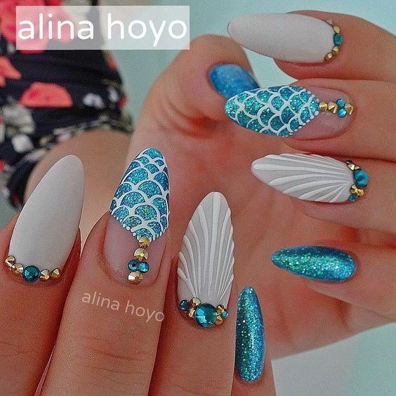 summer 2017 best mermaid nail art designs | blue | stiletto ...