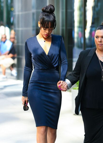 Rihanna in a gorgeous Givenchy navy blue dress.