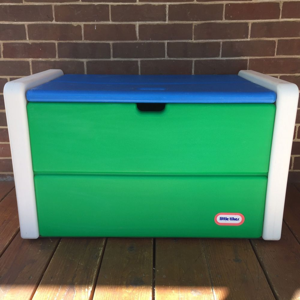 Vintage Little Tikes Child Size White Green Toybox Toy Box Storage