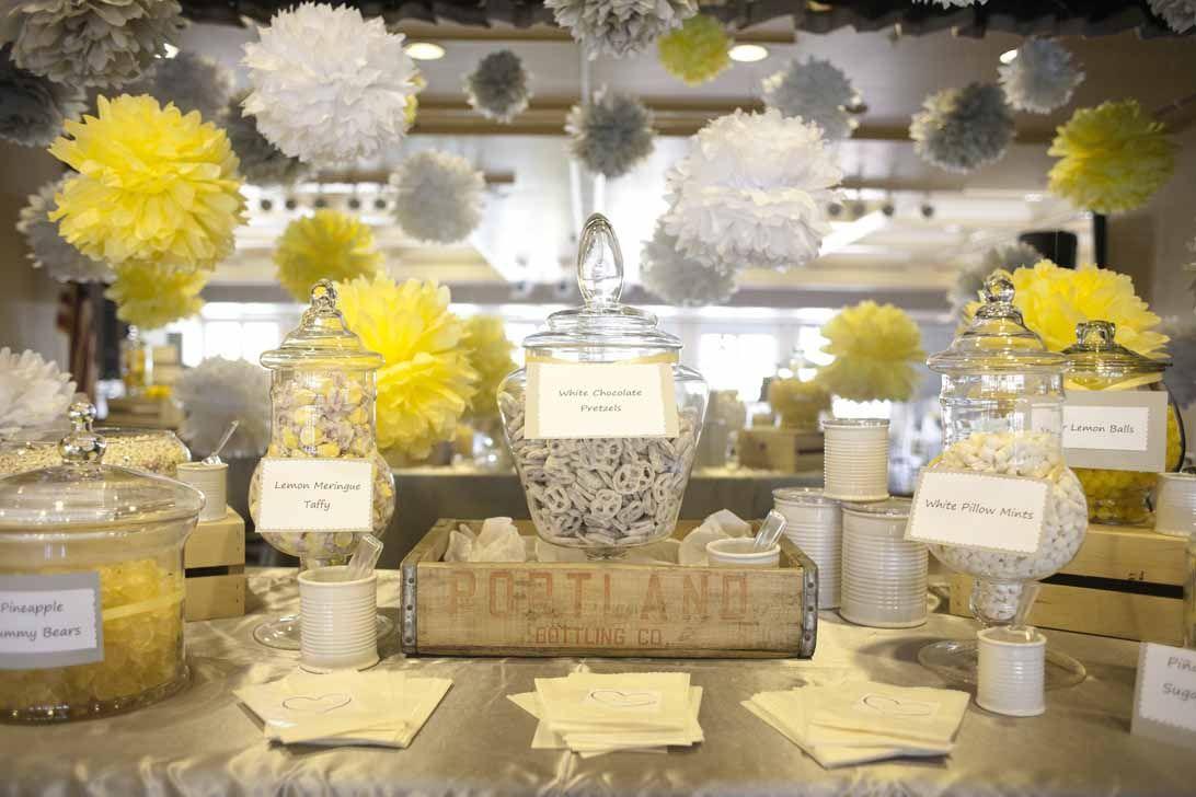 gray and yellow wedding decor, lemon centerpieces, a good affair