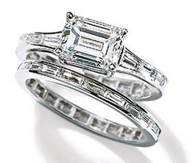 Vera Wang East-West emerald diamond ring with tapered baguettes