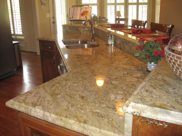 Granite Countertops, Raised Bar Top, Ogee Edge, Decorated For Christmas. By  Miami