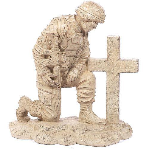 Kneeling Soldier at Cross, Desert Sand Brown: Patio ...