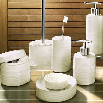 Round Porcelain Bath Accessories With A Matte Finish And Ribbed Design  Available In Putty, Spring