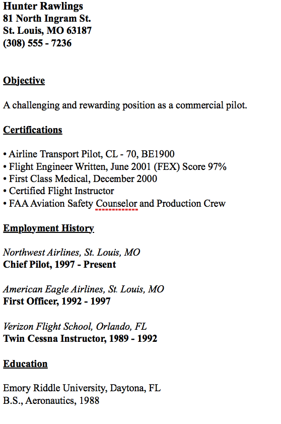example of chief pilot resume httpresumesdesigncomexample