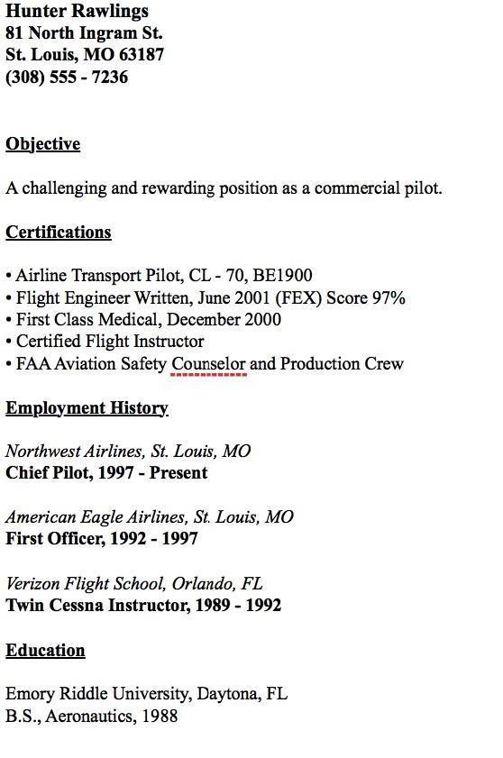 Example Of Chief Pilot Resume Resumesdesign Resume Template Examples Resume Resume Examples