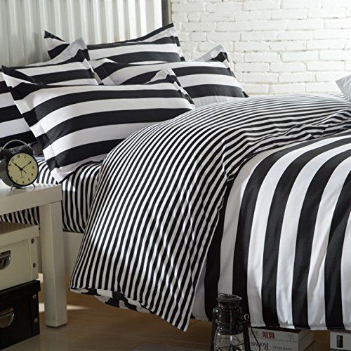Amazon Com Ttmall Twin Full Queen Size Cotton 4 Pieces Black White Striped Prints Duvet Cover Set Bed Linens Full Bedding Sets Bedding Sets Linen Bed Sheets