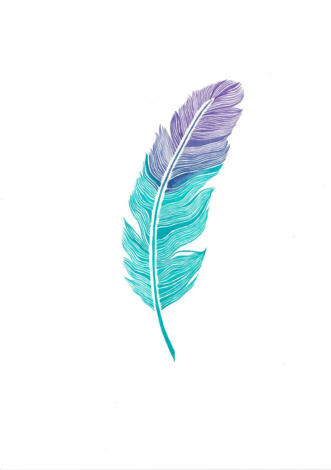watercolor feather print 03 11x16 3500 via etsy