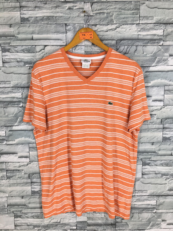 641390a5f0 LACOSTE Stripes Shirt Large Mens Vintage 90s Lacoste Border Stripes Skaters  Old Skool Grunge Streetwear Orange Lacoste V Neck Shirt Size L by ...
