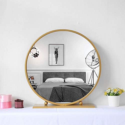 Amazon Com Gold Round Mirror With Base Large Circle Mirrors For Dressing Table Decor 23 6in Dressing Table Decor Living Room Mirrors Round Mirror Bathroom
