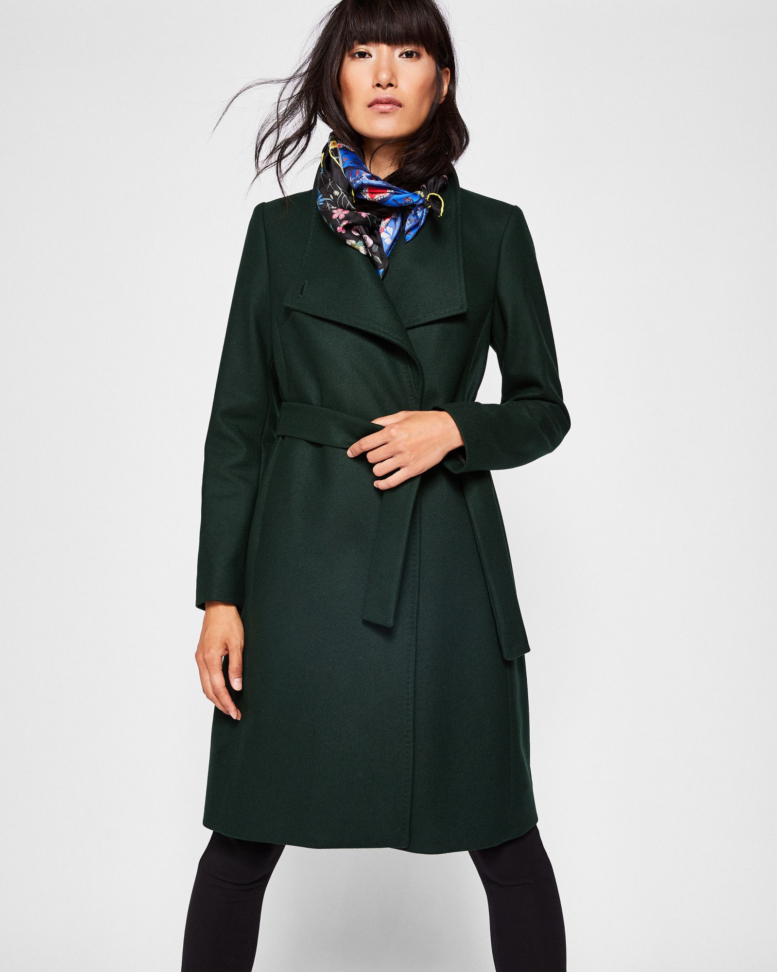 07f0c8215 Ted Baker Wool-blend long wrap coat Dark Green