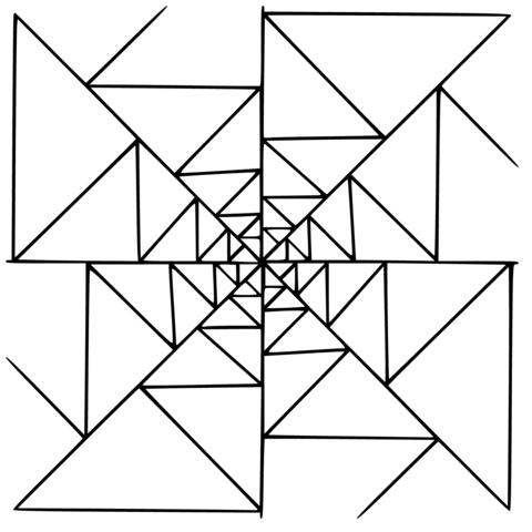 Kleurplaat Mondriaan Mandala With Triangles Coloring Page From Geometric