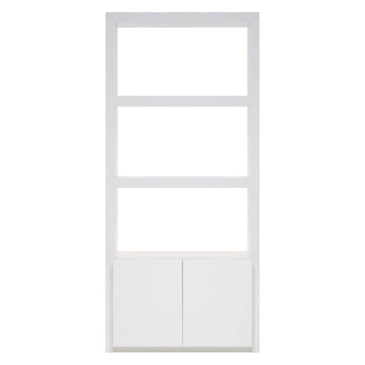 ASPEN White High Gloss Narrow Open Shelving With 2