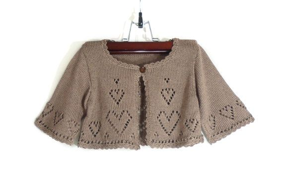 52a821ab32a1 Knitted Toddler Girl Bolero Jacket - Light Brown