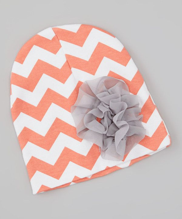 Take a look at this Peach & White Zigzag Rosette Beanie on zulily today!