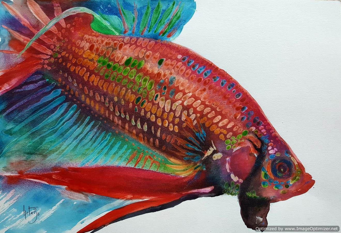 Original Watercolor Betta Painting | Beautiful betta paintings in ...