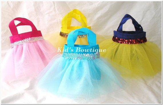 Set of 10 Disney Princess Cinderella Inspired Party Favor Tutu Bags - Princess Tutu Party Gift Bags