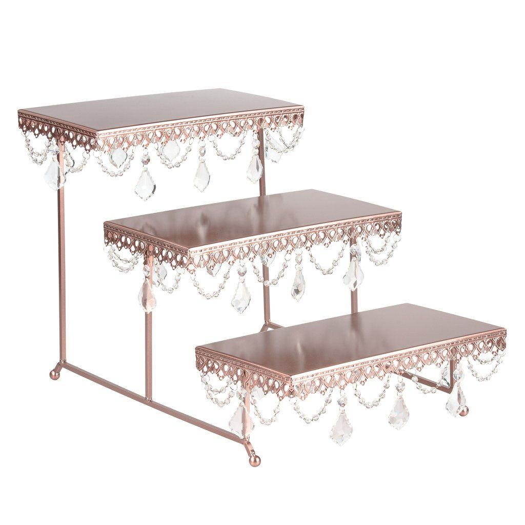 3 Tier Serving Platter And Cupcake Stand With Crystals Rose Gold Cake Stand Display Wedding Cake Stands Cake Display